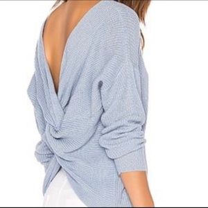Endless Rose Blue Twist Back Sweater from Revolve